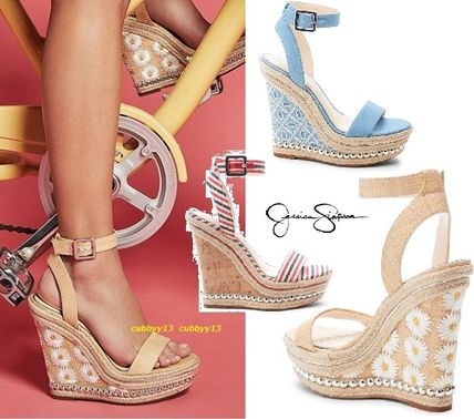 Casual Style Blended Fabrics Platform & Wedge Sandals