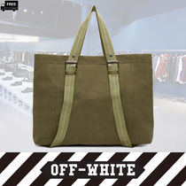 Off-White Casual Style Canvas Plain Handmade Totes