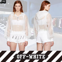 Off-White Short Chiffon Long Sleeves Plain Handmade Cropped