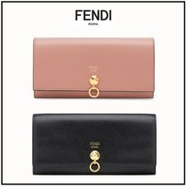 FENDI Blended Fabrics Plain Leather Long Wallets