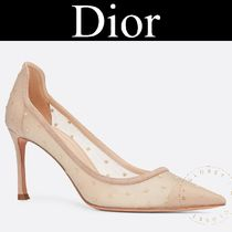 Christian Dior Dots Blended Fabrics Street Style Pin Heels Handmade
