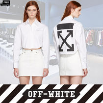 Off-White Short Casual Style Long Sleeves Plain Cotton Handmade