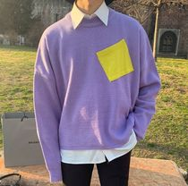 ASCLO Crew Neck Long Sleeves Plain Oversized Sweaters