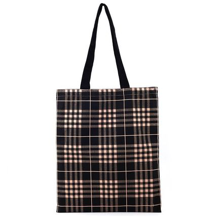 Other Plaid Patterns Casual Style Logo Totes