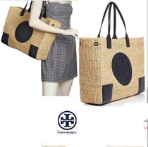 Tory Burch ELLA TOTE Blended Fabrics A4 Bi-color Plain Leather Straw Bags