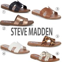 Steve Madden Open Toe Rubber Sole Casual Style Plain Leather Sandals
