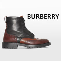 Burberry Wing Tip Street Style Plain Leather Boots