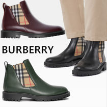 Burberry Other Check Patterns Street Style Plain Leather