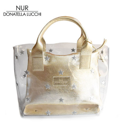 Star Unisex A4 Leather Crystal Clear Bags Totes