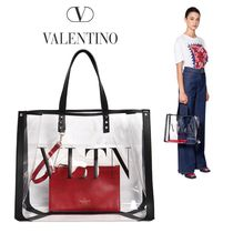 VALENTINO Studded Crystal Clear Bags PVC Clothing Totes