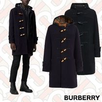 Burberry Tartan Wool Plain Long Duffle Coats