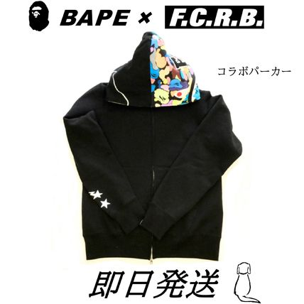 A BATHING APE Hoodies Stripes Unisex Street Style Collaboration Long Sleeves