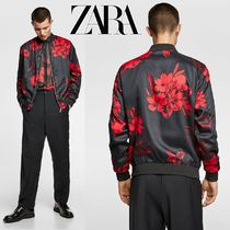 ZARA Flower Patterns Street Style MA-1 Bomber Jackets