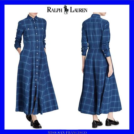 Tartan Casual Style Long Sleeves Cotton Long Shirt Dresses