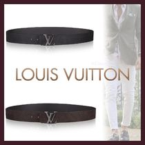 Louis Vuitton Unisex Blended Fabrics Bi-color Plain Leather Long Belt