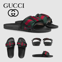 GUCCI Stripes Open Toe Rubber Sole Casual Style Slippers Sandals