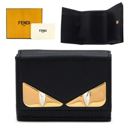 FENDI Folding Wallets Plain Leather Folding Wallets