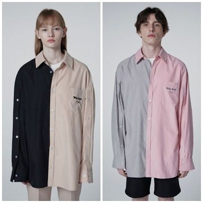 Unisex Street Style Long Sleeves Oversized Shirts
