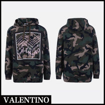 VALENTINO Camouflage Street Style Long Sleeves Hoodies