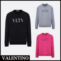 VALENTINO Crew Neck Street Style Long Sleeves Plain Sweatshirts