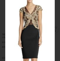 TADASHI SHOJI Flower Patterns Tight Puffed Sleeves V-Neck Medium Lace