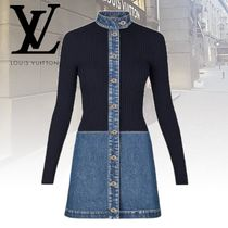 Louis Vuitton Short Bi-color Long Sleeves Cotton Dresses
