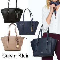 Calvin Klein A4 2WAY Plain PVC Clothing Office Style Totes
