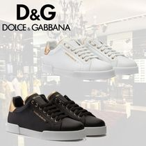 Dolce & Gabbana Sheepskin Blended Fabrics Bi-color Sneakers