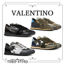 VALENTINO Camouflage Blended Fabrics Studded Sneakers