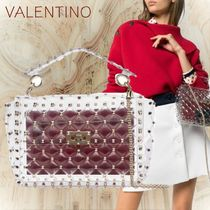 VALENTINO Blended Fabrics Studded 2WAY Crystal Clear Bags PVC Clothing