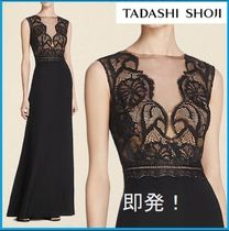 TADASHI SHOJI Tight Sleeveless V-Neck Plain Long Lace Dresses