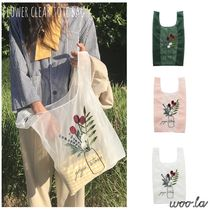 Flower Patterns Casual Style Crystal Clear Bags Totes