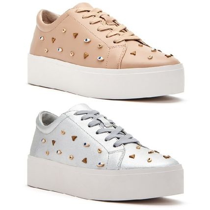 Platform Lace-up Casual Style Blended Fabrics Studded