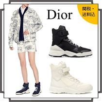 Christian Dior Round Toe Rubber Sole Lace-up Casual Style Blended Fabrics