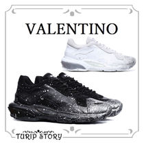 VALENTINO Blended Fabrics Leather Sneakers