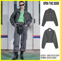 OPEN THE DOOR Denim Street Style Plain Oversized Jackets