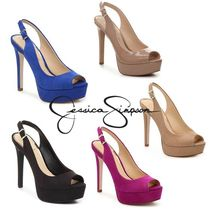 Jessica Simpson Open Toe Faux Fur Plain Pin Heels Elegant Style