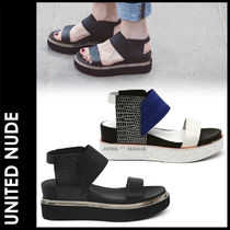United Nude Open Toe Platform Casual Style Plain Leather