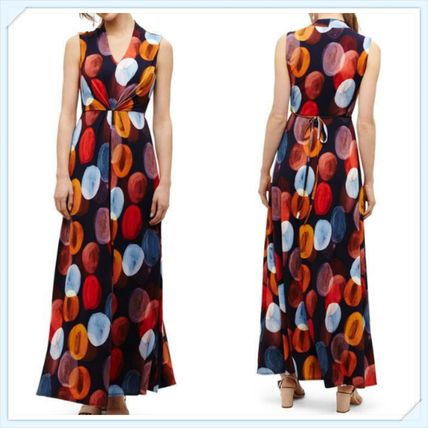 Dots Maxi Sleeveless V-Neck Long Home Party Ideas Dresses