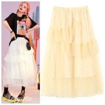 ELF SACK Flared Skirts Plain Midi With Jewels Skirts