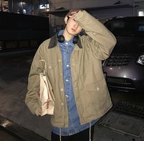 Short Street Style Bi-color Coach Jackets Oversized Khaki