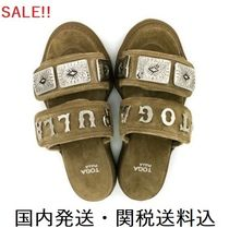 TOGA Open Toe Platform Casual Style Suede Blended Fabrics