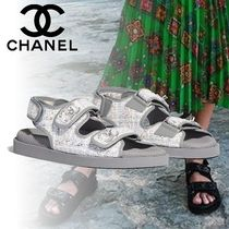 110e6a4f600d CHANEL Casual Style Tweed Sport Sandals Flat Sandals