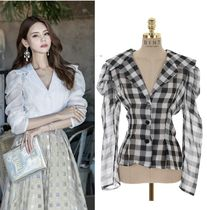 DINT Other Check Patterns Medium Elegant Style Puff Sleeves