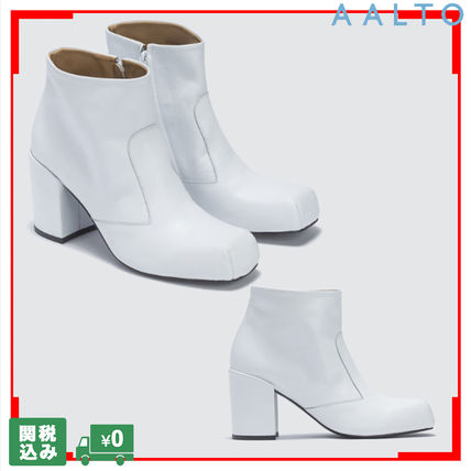 Square Toe Casual Style Street Style Plain Leather