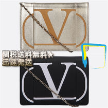 VALENTINO Casual Style Calfskin 2WAY Chain Clutches