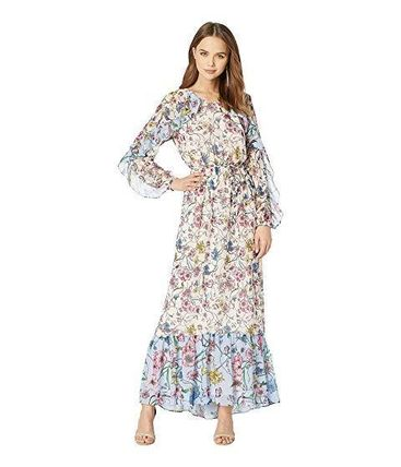 Flower Patterns Casual Style Maxi V-Neck Long Sleeves Long