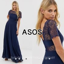 ASOS Flower Patterns Maxi Nylon Blended Fabrics Boat Neck Plain