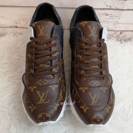 Louis Vuitton Sneakers Monogram Unisex Blended Fabrics Street Style Bi-color