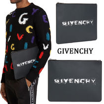 GIVENCHY Calfskin Street Style A4 Plain Clutches